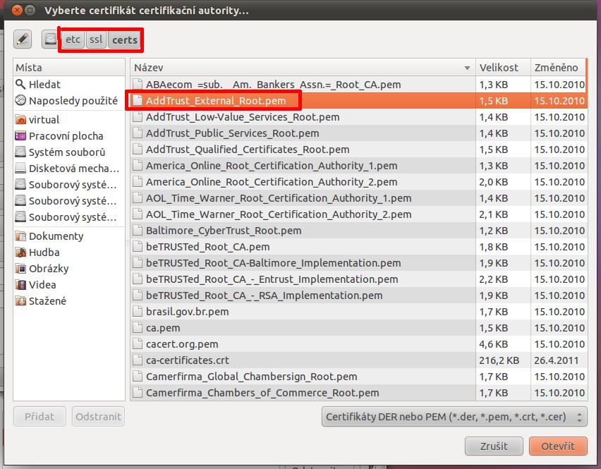 Linux - Network Manager - výběr certifikátu