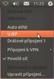 Linux - Network Manager - Aktivace UJEP připojení